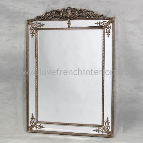 Silver French Crested Mirror